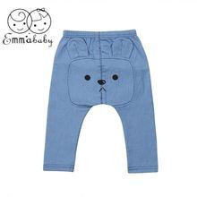 caf098ce8 2019 Marque New Enfant Bébé Fille Garçon de Bande Dessinée Pantalon Long  Harem Pantalon Bleu Denim Élastique Taille Pantalon Bas.