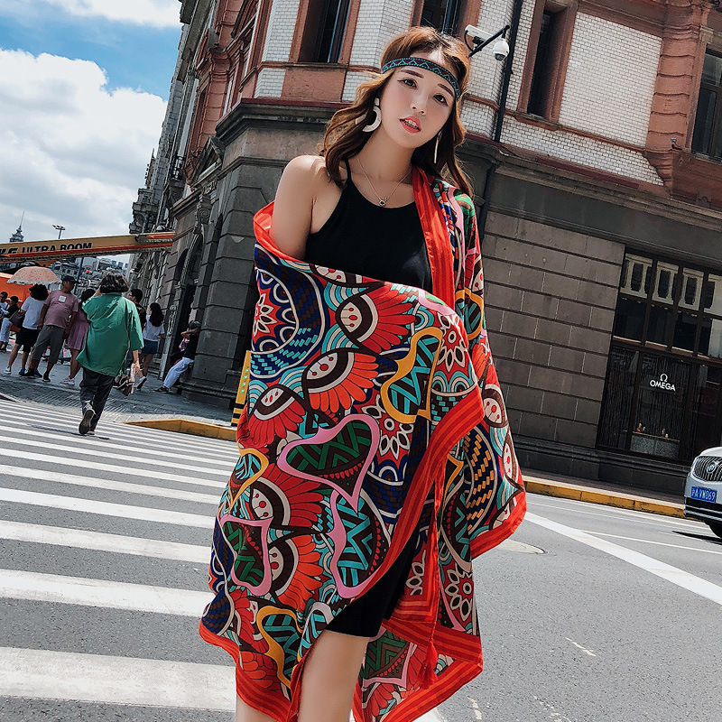Women Summer Cotton And Hemp 180*90cm Large Shawls Wraps Geometric Printed Ethnic Style Sunscreen Scarf Holiday Beach Towels