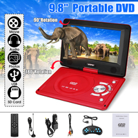 Portable Car DVD Player 9.8 DVD Player Game Video Control Rechargeable 270 Degree Rotation With Game FM Radio TV AV Car Charger