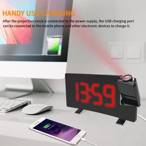 Image 5 - דיגיטלי רדיו שעון מעורר הקרנה נודניק טיימר LED תצוגת USB תשלום כבל 180 תואר שולחן קיר FM רדיו שעון