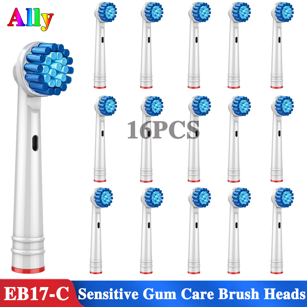 16PCS Electric Toothbrush heads Sensitive Gum Care Replacement Brush Heads For Braun Oral B Triumph Plak Control 3D Duo Travel16PCS Electric Toothbrush heads Sensitive Gum Care Replacement Brush Heads For Braun Oral B Triumph Plak Control 3D Duo Travel