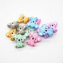 Chenkai 6PCS Silicone Koala Teether Beads DIY Baby Animal Cartoon Chewing Pacifier Dummy Sensory Jewelry Toy Making Bead