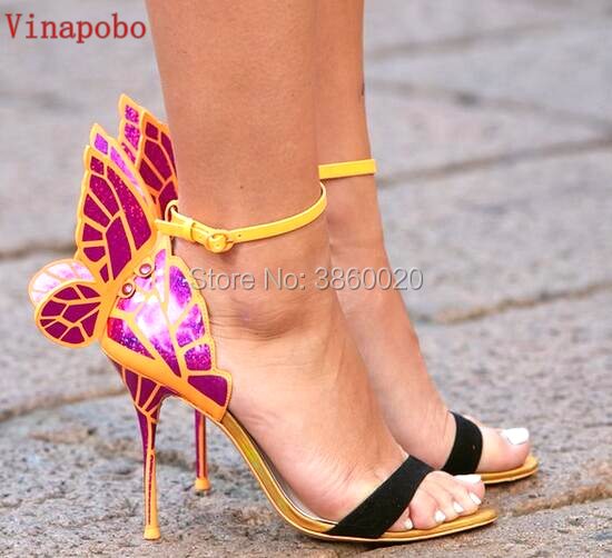 2019 New women Colorful butterfly sandals party shoes high heels wedding shoes gladiator sandals wings printed