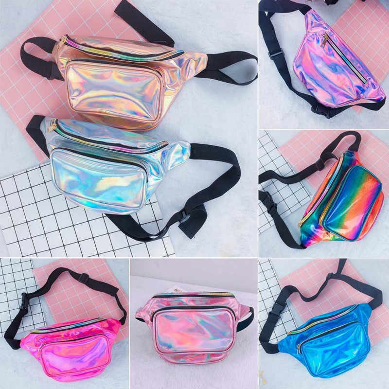 2019 New Design Fashion Reversible Sequin Glitter Waist Fanny Pack With Black Belt Hip Purse Waterproof Chest Handbags