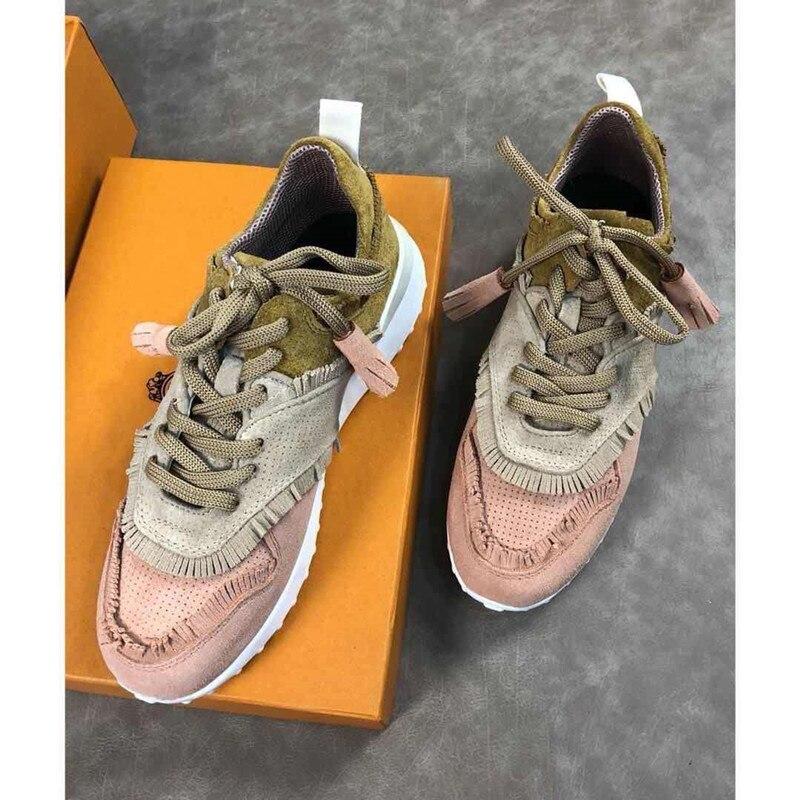 Véritable plate-forme en cuir Sneaker femmes à lacets chaussures décontractées classiques