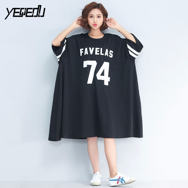 #1611 Summer 2018 Three quarter sleeve Harajuku Streetwear Round neck Oversize Printed letter Long T shirt dress Black/Green