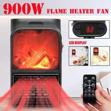 900W Mini Electric Wall-outlet Flame Heater EU Plug-in Air Warmer PTC Ceramic Heating Stove Radiator Household Wall Handy Fan(China)