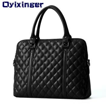 Black Genuine Leather 14 Inch Laptop Bags Women Handbag Briefcase Bag Female Cow Leather Diamond Lattice Bag For Macbook Air HP