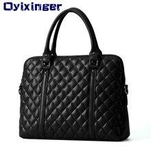 Schwarz Echtes Leder 14 Zoll Laptop Taschen Frauen Handtasche Aktentasche Tasche Weibliche Kuh Leder Diamant Gitter Tasche Für Macbook Air HP