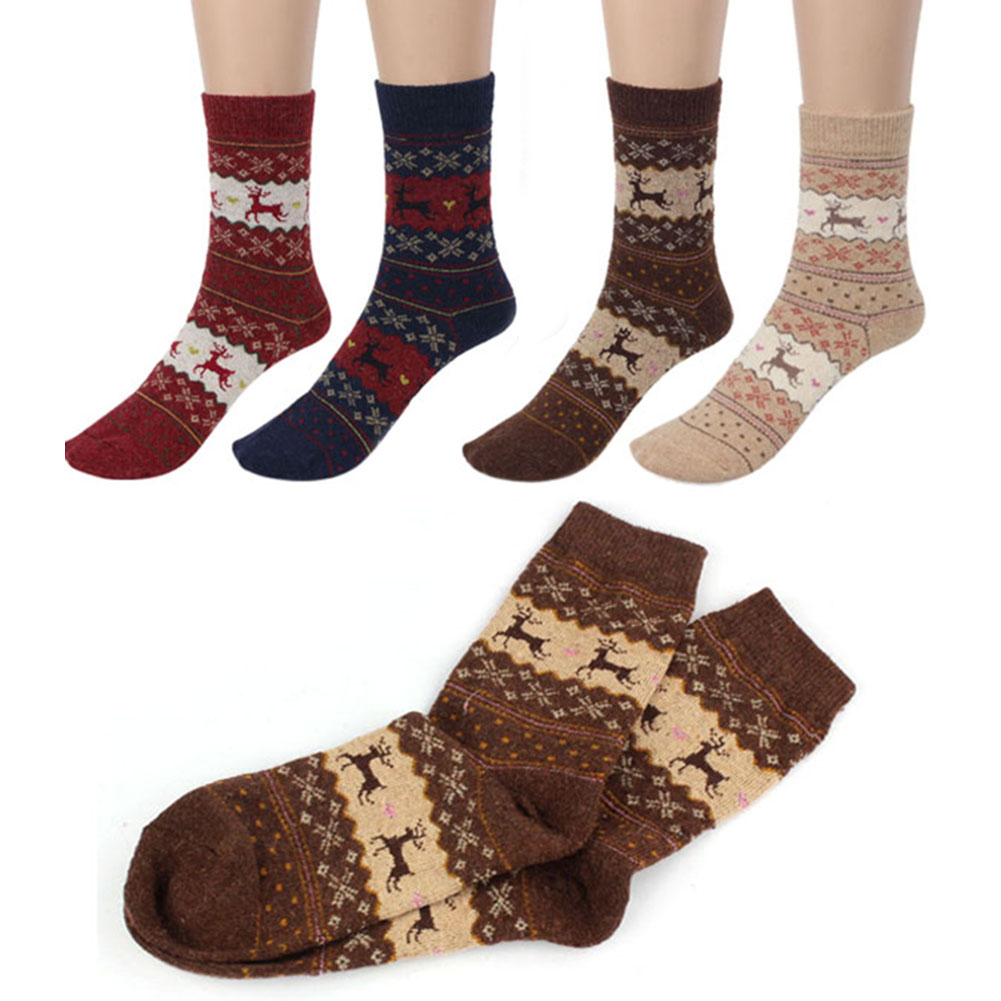 1Pair Winter Women Men Socks Warm Wool Crew Socks Cute Snowflake Deer Printing Comfortable Socks For Christmas Gift