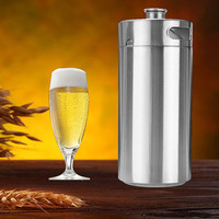 304 Stainless Steel 3.6L Mini Keg Beer Pressurized Growler Portable Beer Bottle Home Brewing Beer Making Tool