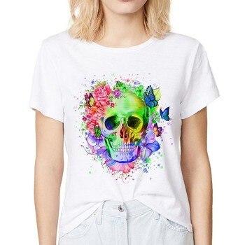 colorful flower skull cool t shirt women summer new white casual femme Harajuku tshirt