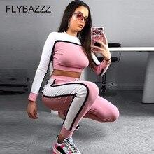 Для женщин Йога комплект спортивная одежда Лоскутные бесшовные леггинсы + укороченный топ тренировки спортивный костюм Для женщин с длинным рукавом Фитнес комплект спортивной одежды
