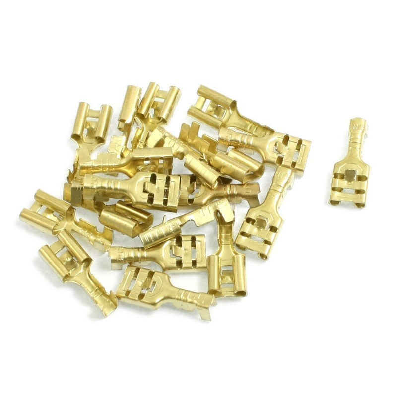 New Brass 6.3 mm Connectors Female Spade Cable Terminals, 20 Piece
