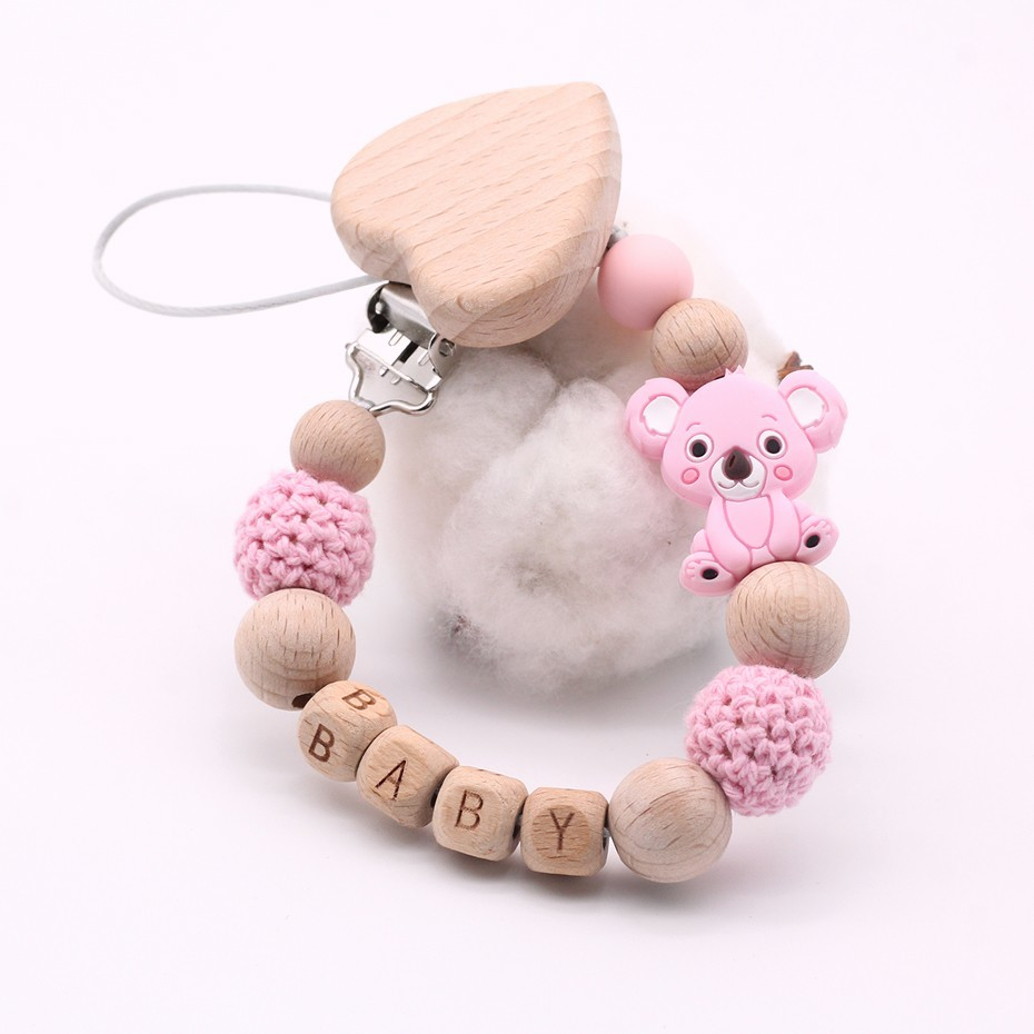 New Custom Name Personalised Baby Pacifier Clip Chain Wood Soother Pacifier Clips Holder Infant Nipple Bottle Dummy Chain Shower