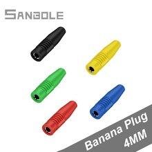 (20 pces) cobre 4mm banana plug cabeça fêmea inserção conexão isolado jack plug fio conector de solda