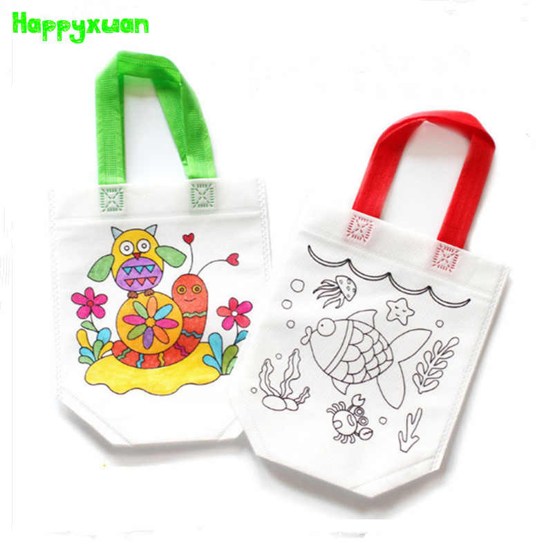 Happyxuan 10pcs/lot Non-woven DIY Graffiti Handbag Flower Rabbit Owl Children Handmade Gift Bag Coloring Painting Toy