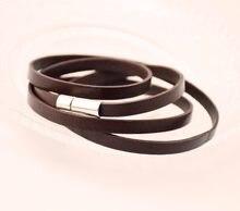 323ab7087e53 Brazalete unisex cuero negro pulseras nuevo producto regalo de la joyería  para hombres y mujeres de 60 cm 3 rondas para la muñec.