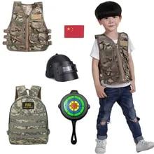 Армейские фанаты, уличные жилеты-джедаи, детская одежда, тактический жилет, камуфляжный костюм для косплея, комплект + рюкзак + шлем + игрушеч...