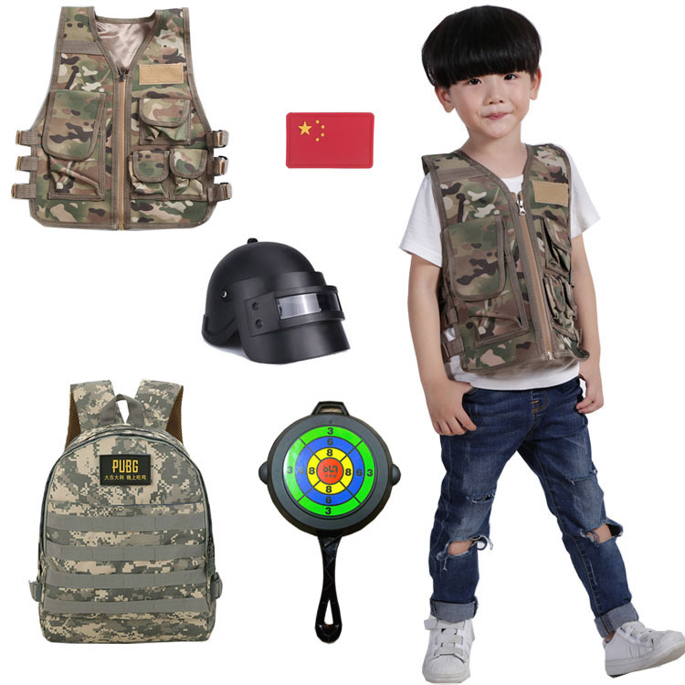 Army Fans Outdoor Jedi Waistcoats Children Clothing Tactical Vest Camouflage Cosplay Costume Set Backpack font b