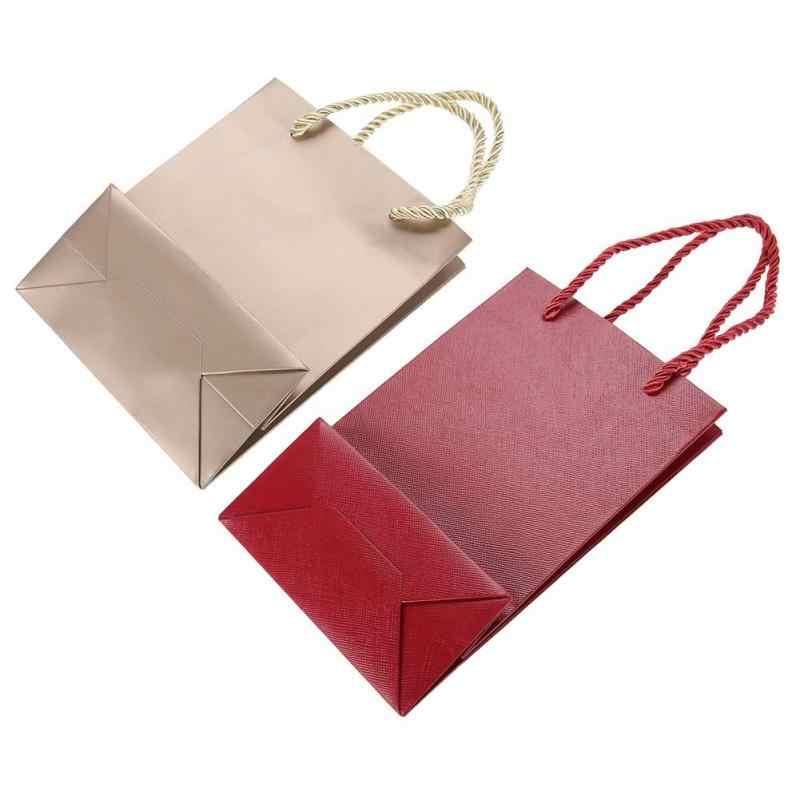 10 шт./компл. бумажный подарочный пакет с ручкой однотонные вечерние подарочные поставки Упаковочные пакеты Подарочный мешочек для украшений Storager Bag a