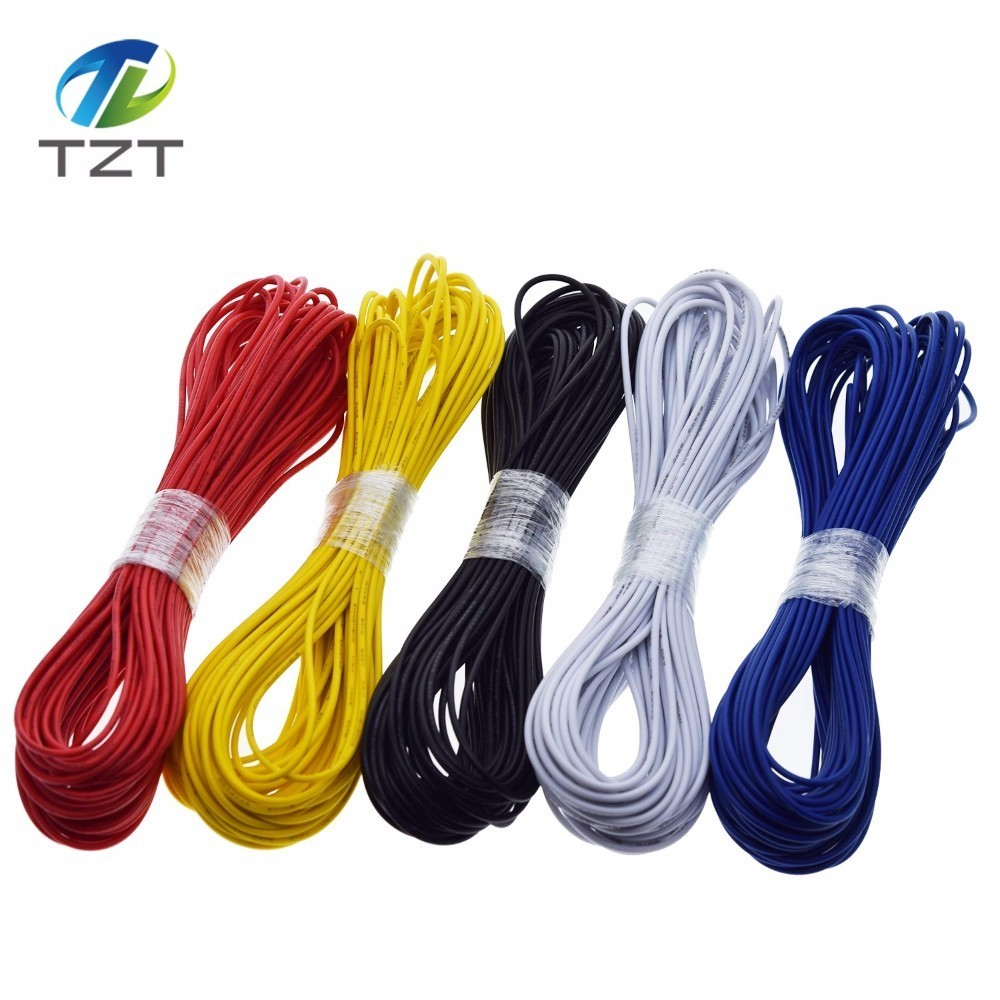300V Cord NEW 10M Yellow UL-1007 24AWG Hook-up Wire 80°C