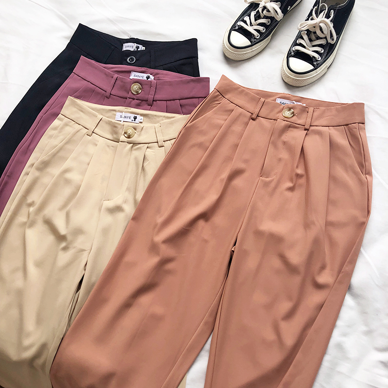 Summer Casual Women   Wide     Leg     Pants   High Waist Beige Purple Orange Black Ankle   Pants   Bottom