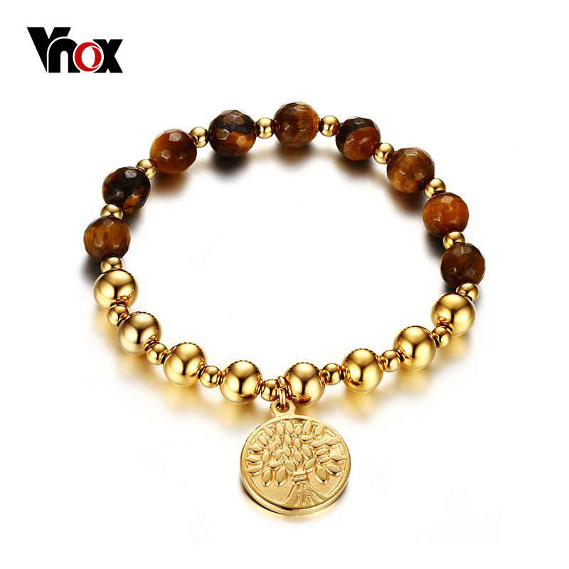 Vnox Gold-color Tree of Life Bracelets for Women Ethnic Brown Beads Bangles Length Adjustable
