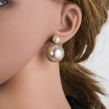 Fashionable Women Girl Ear Stud Gray Pearl Earrings Decoration Jewelry Accessory(China)