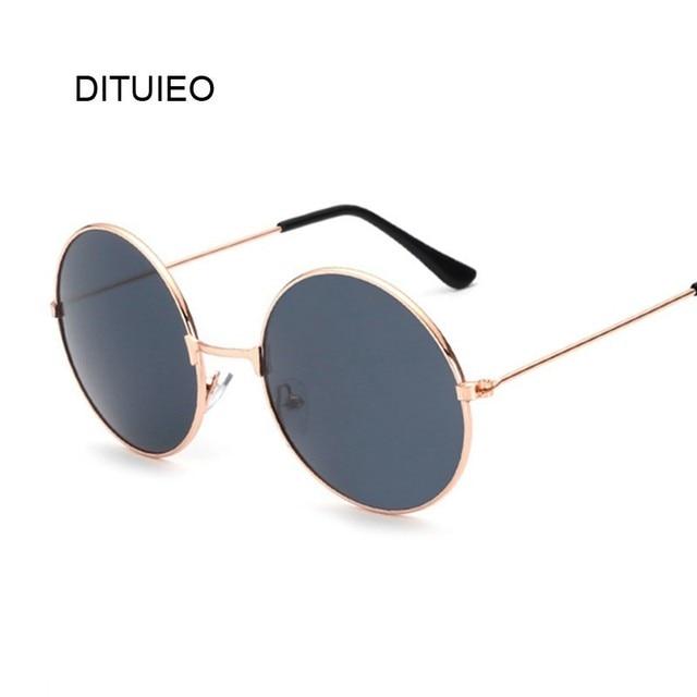 Retro Redonda Pequena Óculos De Sol Das Mulheres Do Vintage Da Marca Lunette Shades Black Metal Óculos de Sol Para as mulheres Designer de Moda