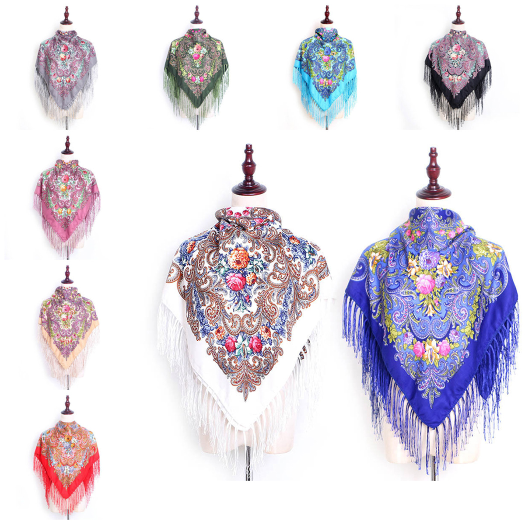 13 Colors Floral Print Tassel Square   Scarf   Women Russian Ethnic Style   Scarf   Retro Cotton Shawl Fashion Ladies   Scarves     Wraps