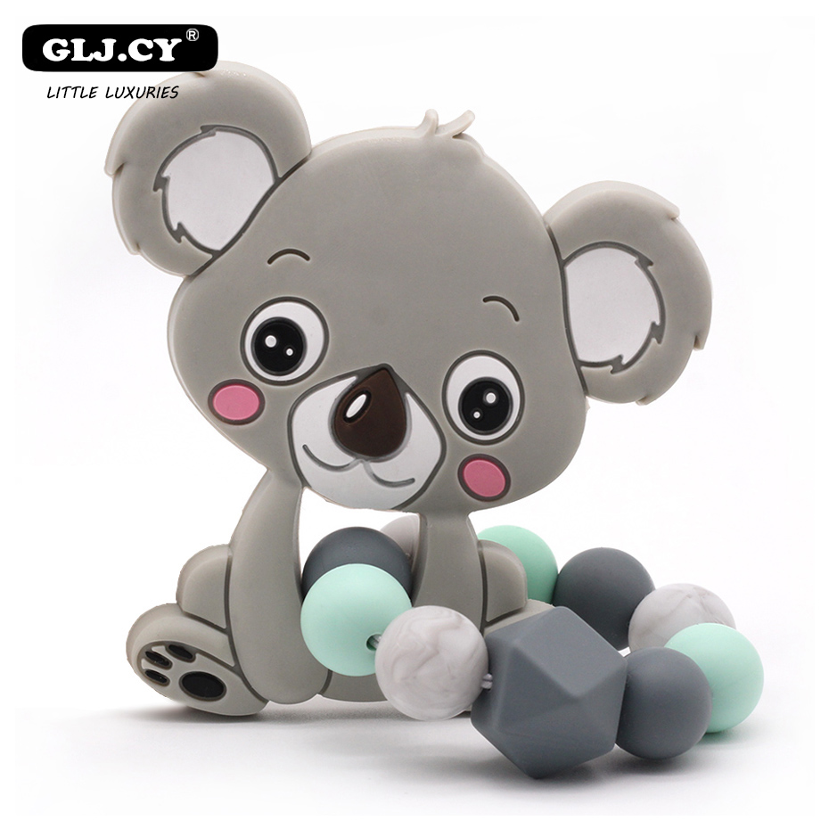 New Cute Koala Silicone Teether 1PC Baby Silicone Bracelet Silicone Beads Safety Rubber Food Grade Silicone Teether Toys