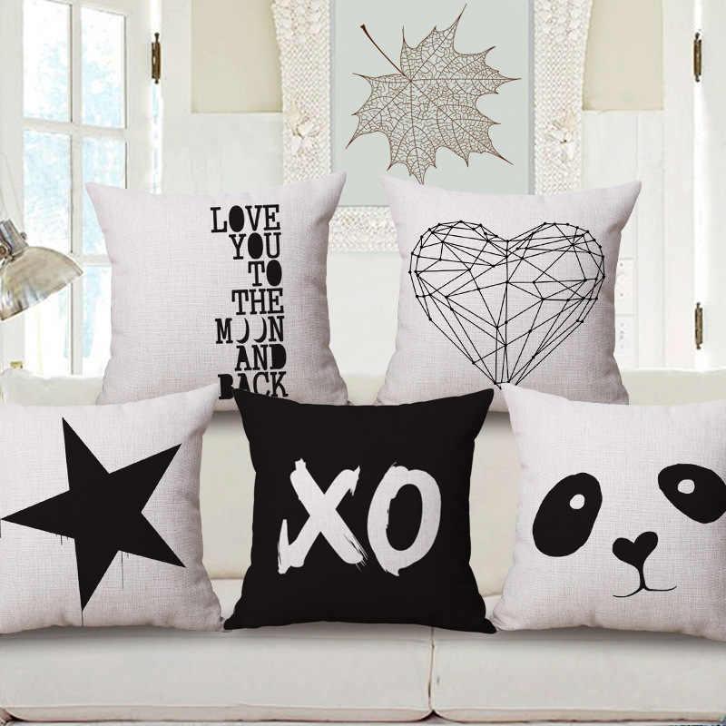 เพียง cushion cover สีขาวสีดำผ้าฝ้ายผ้าลินิน LOVE คู่รถตกแต่งโยนหมอน 45x45 ซม. โซฟาตกแต่งบ้าน 1 pc