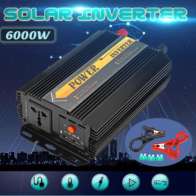 Инвертор 12 В 220 В 6000 Вт пики Авто Модифицированная синусоида Напряжение трансформатор Мощность преобразователь автомобильная зарядка USB 3000 ...