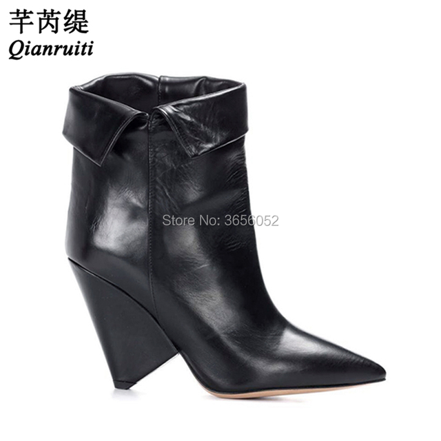 2acbe4320e8e Qianruiti Zapatos Mujer Fashion Autumn Shoes Plain Leather  Suede Black Red  Women Booties High Slanted Heel Slip On Ankle Boots