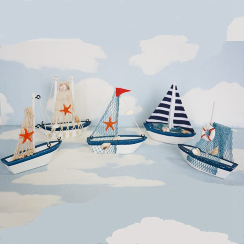 Vintage Mediterranean Style Marine Nautical Wooden Blue Sailing Boat Ship Wood Crafts Ornaments Party Home Room Decoratio