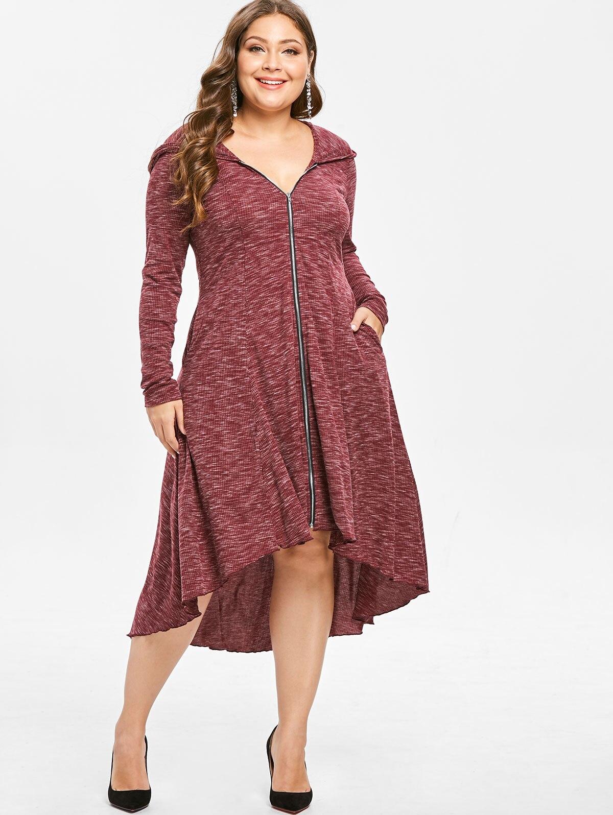US $19.44 48% OFF Wipalo Plus Size Zip Front Hooded Long Sleeve High Low  Dress V Neck Long Sleeves Asymmetrical Women Dress Vestido 2019 Clothing-in  ...