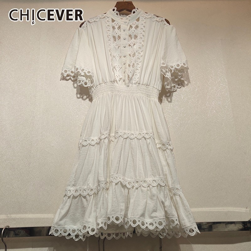 CHICEVER Summer Lace Hollow Out Patchwork Women Dress Stand Short Sleeve High Waist Slim Hollow Out