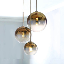 Modern LED Pendant Light Transparent Silver Gold Glass Ball Hanging Lamps Hanglamp Kitchen Fixtures Dining Living Room Luminaire