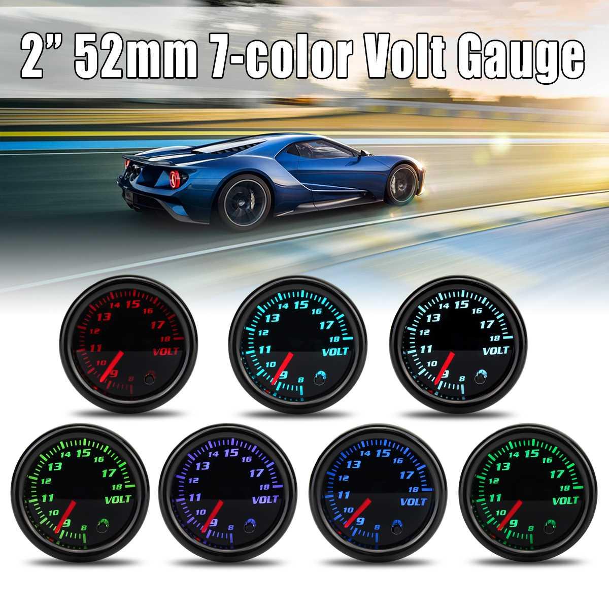 12V Universal 2inch 52mm Auto Volt Voltage Gauge Meter 7 Color LED Display Tinted Face12V Universal 2inch 52mm Auto Volt Voltage Gauge Meter 7 Color LED Display Tinted Face