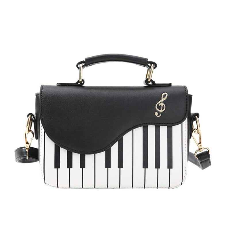 Cute Piano Pattern Fashion PU Leather Casual Ladies Handbag Shoulder Bag Crossbody Messenger Bag Pouch Totes Women's Flap Bolsa