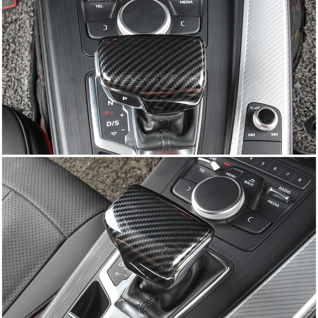 עבור אאודי A4 B9 A5 2017 2018 Q7 2016 2017 2018 רכב פנים סיבי פחמן מרקם Gear Shift Knob ראש כיסוי