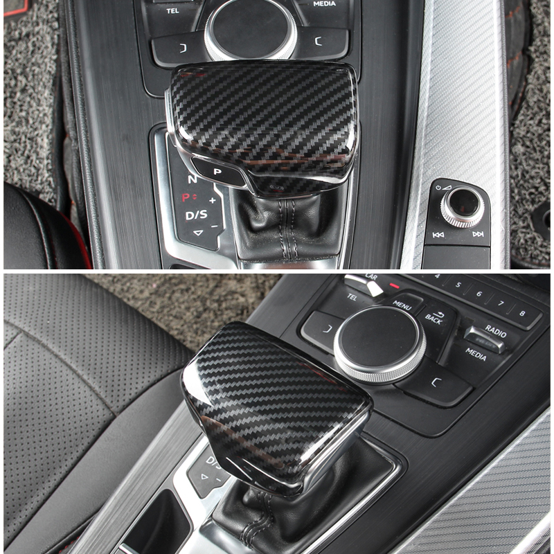 For Audi A4 B9 A5 2017 2018 Q7 2016 2017 2018 Car Interior Carbon Fiber Texture Gear Shift Knob Head Cover-in Interior Mouldings from Automobiles & Motorcycles