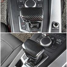 Para audi a4 b9 a5 2017 2018 q7 2016 2017 2018 interior do carro de fibra carbono textura do deslocamento de engrenagem botão cabeça capa
