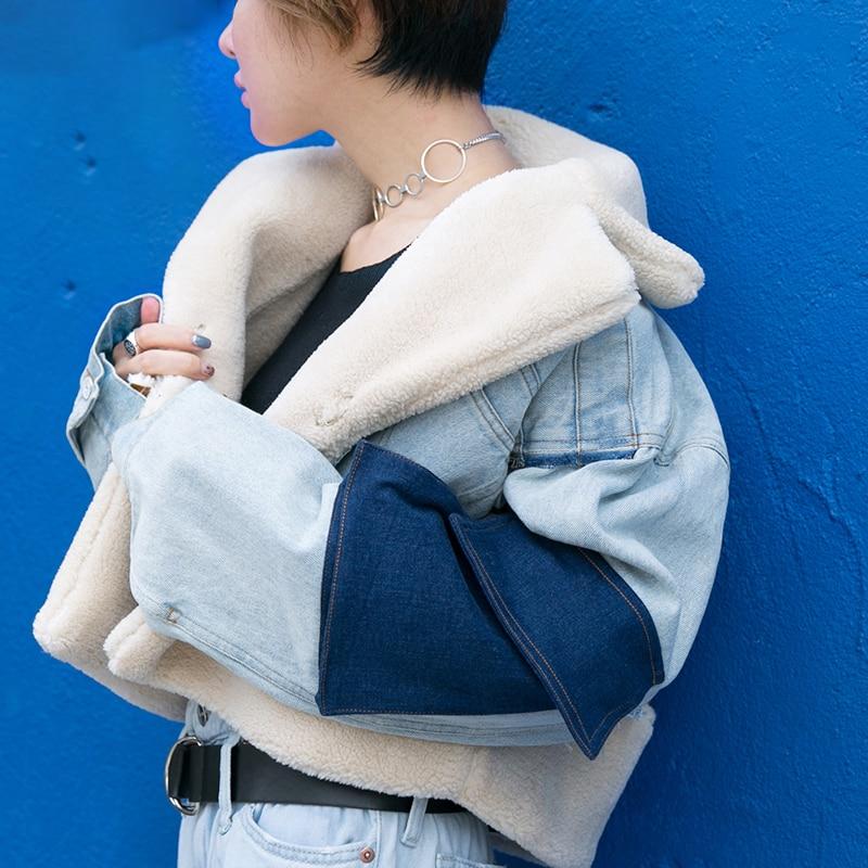 Poche Irrégulière De menkay Couleur Veste Féminine 2018 Femmes Mode Style Coat As Denim Manches Longues Manteaux Coréen Automne Picture Patchwork Hit x88Ozw