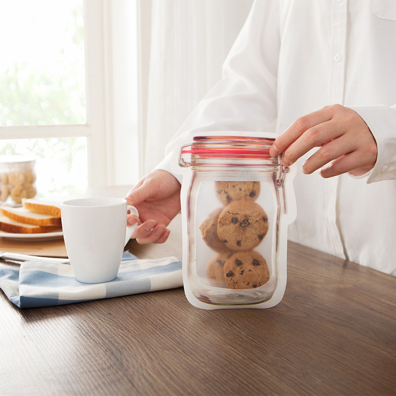 Mason Jar Zipper Bag Pouch Airtight Reusable Snack Bags Food Saver Storage Bag