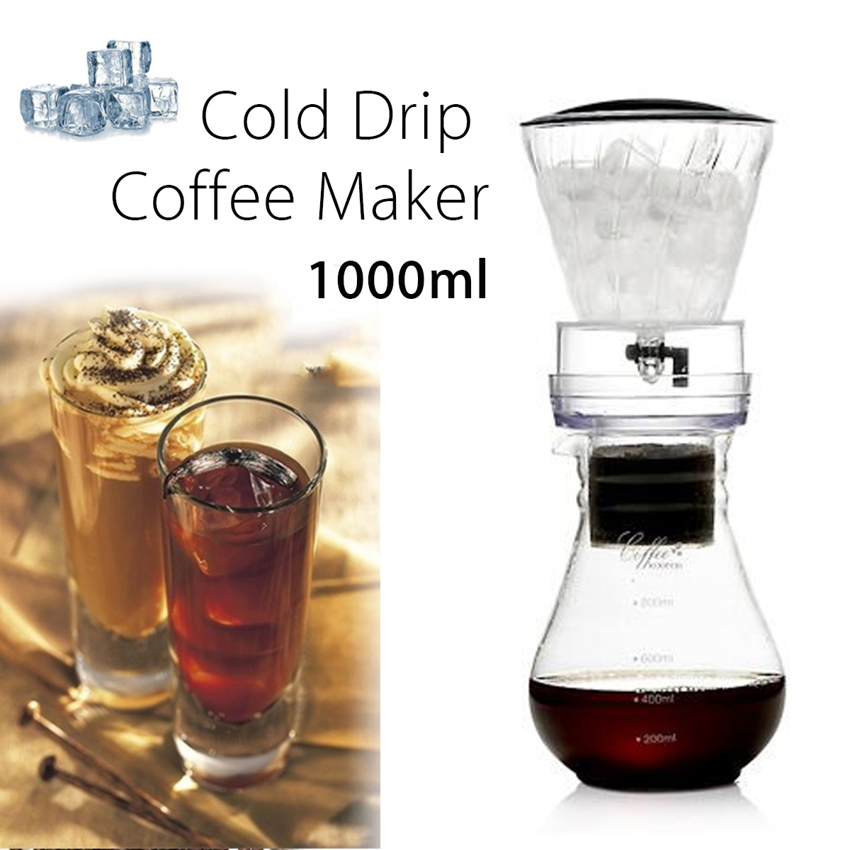 1000ML High-temperature Resistant Glass Coffee Maker Espresso Coffeemaker Filter Pot Coffee Cold Iced Drip Brew Coffee Pot portable coffee maker glass espresso drip coffee pot reusable filter tools ice cold brew percolators coffee machine