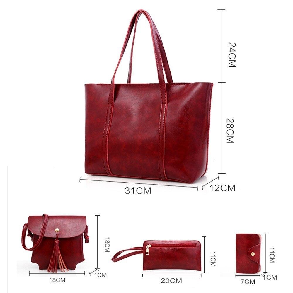 TTOU 4pcs/set Leather Bags Women Handbag Set Luxury Handbag Women Bags Designer Black Handbag Ladies Hand Bag Purse Female 3