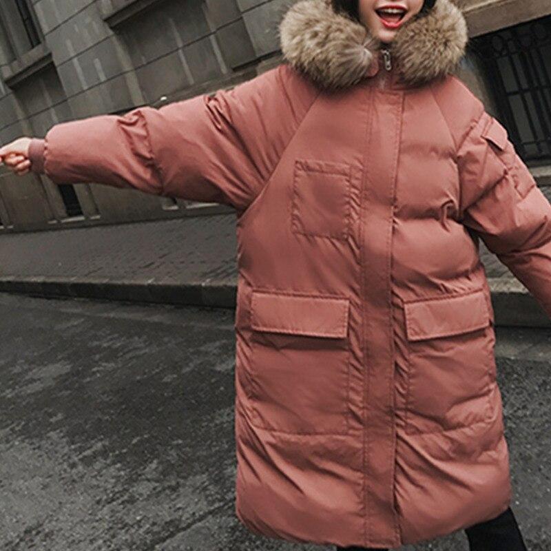 Fit Mujer Plus Femelle Green Femmes Taille Parkas Outwear Loose Fourrure Black Rembourré Chaqueta Col Épaissir La Ls09 Color Hiver light 2018 Mode caramel Coton Veste De m8wnN0