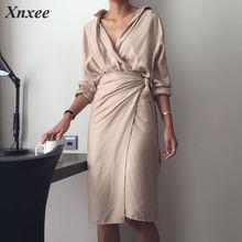 Tunic Dress Female V Neck High Waist Patchwork Slim Bodycon  Long Dresses Spring Fashion Elegant Clothing